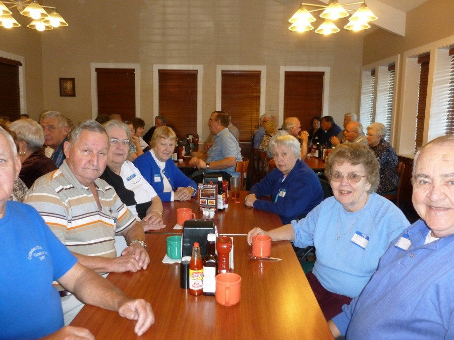 """Shown in the picture from Left to Right: (partially hidden) Bruce Theobald, `57, reunion organizer; David Spainhower, `51; Anita Phelps Lockhart, `51; Suzanne Theobald Elston, `56; Patricia Theobald Abrams, `51; Jean Standing Smith and Clarence """"LeRoy"""" Smith, `51. Jean and Roy have attended all of the reunions, Pat missed one."""